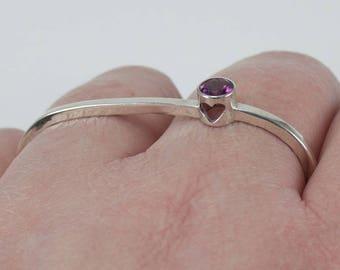 Two finger rhodolite garnet, moldavite, or baby pink topaz, and sterling silver heart ring, double finger ring, gift for her, woman