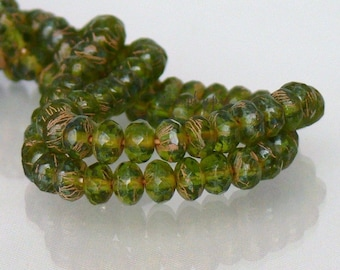 Olivine Copper Drizzle Czech Donut Beads 3x5mm 25 Faceted Rondelle Glass Gemstone Cut