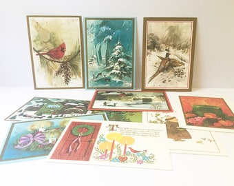 Christmas cards Vintage cards Holiday cards lot of 10 1960s Scrapbooking