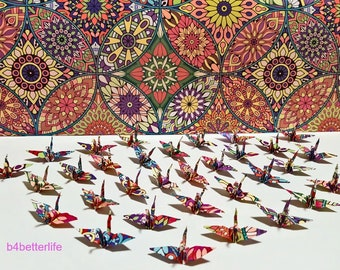"""Lot of 100pcs 1.5"""" Multi-colored Kaleidoscope Design Hand-folded Origami Paper Cranes. (WR Paper Series) #FC15-88."""