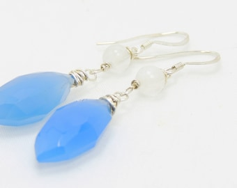 Blue Quartz and sterling silver dangle earrings, handmade, wire wrapped