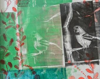"Fine Art Giclee Print ""Two in the Bush""- Multimedia Artwork"