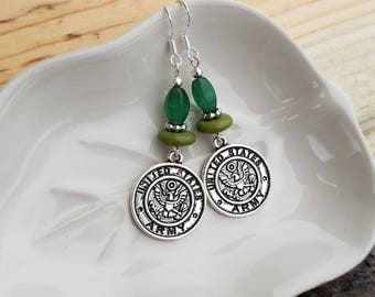 United States Army Earrings, Army Sterling Silver Earrings, Green Army Earrings, Military Green Sterling Silver Earrings