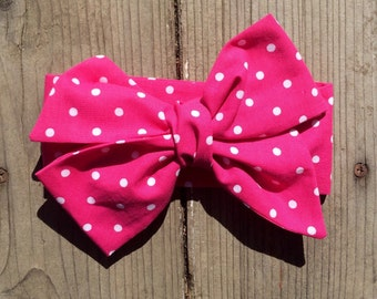 TIED, Pink Polkadot Headwrap, Big Bow Headwrap, Toddler Bows Headwrap, Headband, Headwrap, Baby Headwrap, Baby girl, Infant Headwrap, Tied