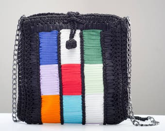 Handmade Knitted Artistic Colorful Vegan Bag
