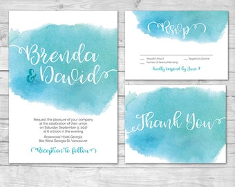 Aqua Blue Wedding Invitation, Watercolor Wedding Invitation, Printable wedding Invitation, Blue Wedding invite, Watercolor Invitation, Teal