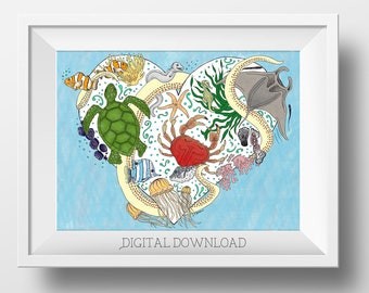 Ocean Nursery Art - Ocean Animal Art - Ocean Nursery Decor - Ocean Decor - Ocean Animals - Ocean Wall Art for Kids - Sea Creature Wall Art