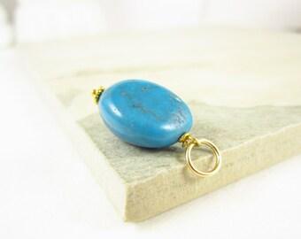 Arizona Turquoise Nugget - Natural Turquoise Pendant - Genuine Turquoise Jewelry - 14k Gold Pendant - Something Blue Gemstone Jewelry