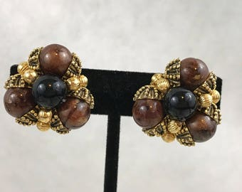 Vintage Gold Tone Brown And Black Beaded Clip-On Earrings