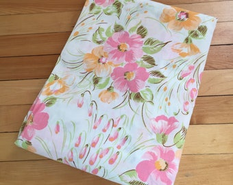 Vintage 1970s Pink Orange Floral Twin Fitted Cotton Bed Sheet!
