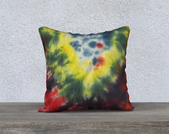 Outdoor Tie Dye Throw Pillow-Blue Yellow Red-Weather-resistent-UV coating-Square Rectangle-14x20, 16x16, 18x18, 20x20