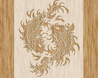 """Yin Yang Japanese Koi Fish Stencil - Sku AN0100 (8.5"""" x 11"""")"""