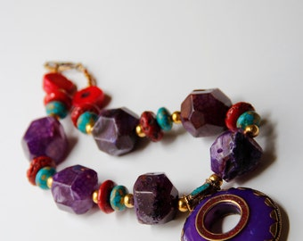 Chunky Purple Agate Bamboo Coral Necklace, The Bahia Solano