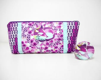 Purple Fox Cosmetic Pouch, Zipper Pouch with Pocket Mirror