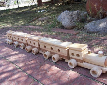 Toy Train Set of Recycled Wood, Handcrafted for that Child in your life, Collectible Toy Gift