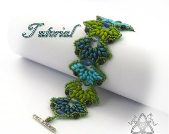 Pdf Tutorial Falling Leaves Bracelet with Super Duo Beads and Fire Polish Crysal Beads, Beading Pattern English Only,