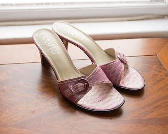 Vintage Franco Sarto Pink Crocodile Buckle Heel