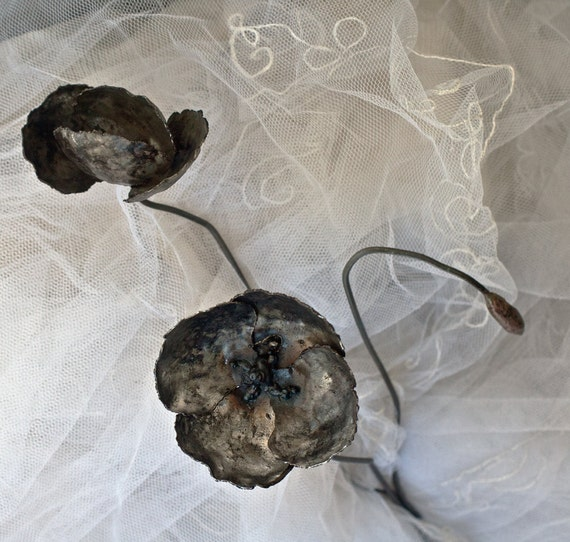 Metal flower branch poppy bouquet wrought iron art wrought