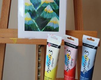 Yellow & Teal Mountains- Unframed Giclée Print