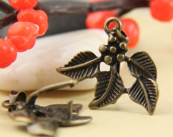 Clearance-5pcs Large Brass Leaves Pinch Bails