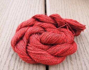 Rayon Slub Yarn Paprika Deep Orange 100 yards Shiny sportweight knitting weaving