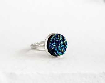 Metallic blue adjustable druzy ring, crystal ring