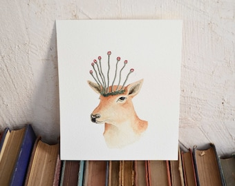 Deer Spirit  - Original Watercolor Illustration - By Tales Of Lichen