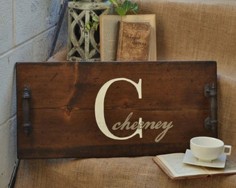 Wooden Serving Tray -  Breakfast Tray, Customize With Your Name