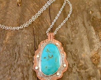 Turquoise Cab Set in Sterling and Textured Copper with Rivets Pendant