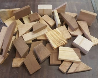 Wood Building Blocks Scrap Sanded Natural Oak Pine Cherry Walnut Kids Toddlers Child Wooden Craft Architecture Per Pound Lb Enkore Bloks