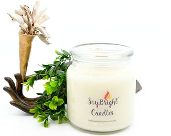 SoyBright™ Rainforest Sugarcane Natural Soy Wax Apothecary Jar Candle | Wooden Wick | Scented | Hand Poured | More Scents Available - 16 oz