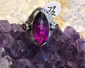 Watermelon Quartz and Garnet Party Ring Size 7 1/2