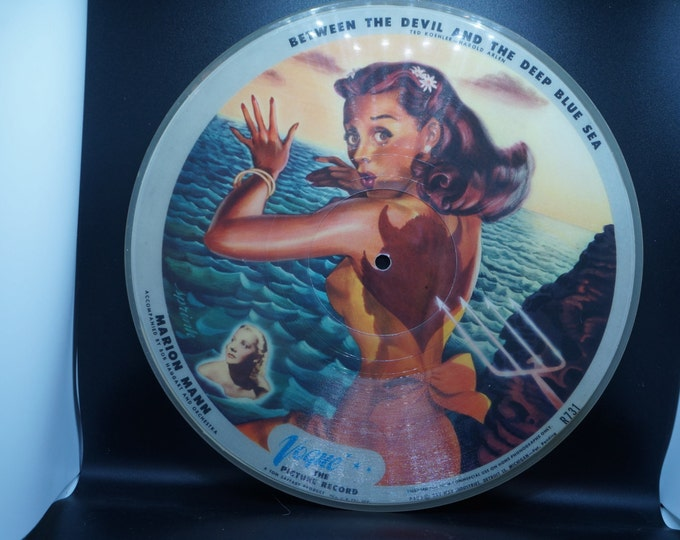 """Featured listing image: Vintage 40s Vogue Pinup picture record """"Between the Devil and the Deep Blue Sea""""/""""You took Advantage of Me"""""""
