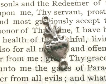 Sacred Heart Link - Heart Link - Sterling Silver or Bronze - Vintage Replica - Made in the USA