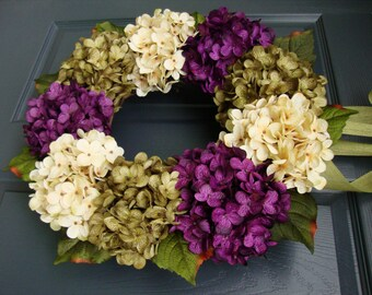 Hydrangea Wreath | Front Door Wreaths | Summer Wreaths |  Summer Door Wreath | Front Porch Decor | Fall Wreath | Housewarming Gift