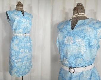 Vintage 1960s Dress / Plus Size Dress / 60s XXL Summer Shift Day Dress in Blue White Floral Cotton