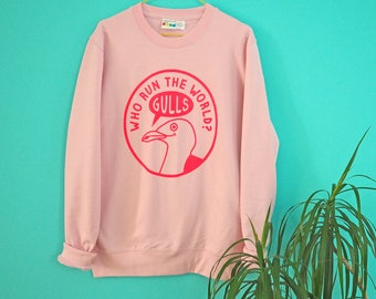 Who Run the World Jumper, Pink Jumper, Seagull Cute Sweater, Beyonce Sweater, Funny Animal Jumper, Bird Jumper, Neon Pink Sweater, Feminist