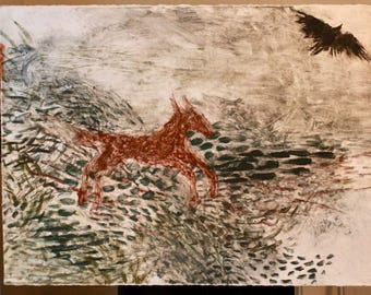 Fox and Raven Surreal Landscape Springtime Original Monotype Painting