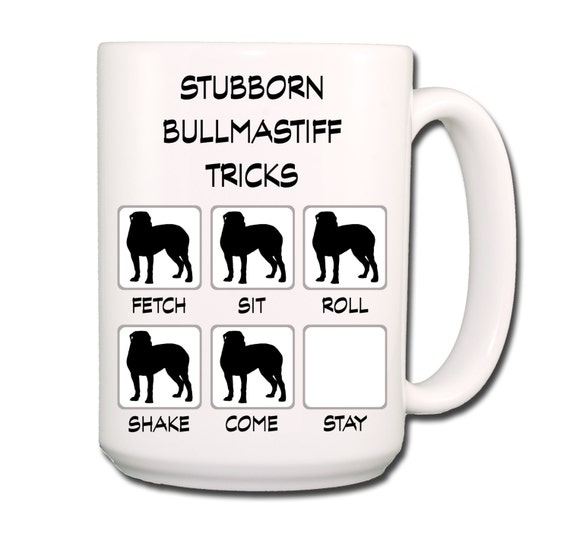 Bullmastiff Stubborn Tricks Large 15 oz Coffee Mug