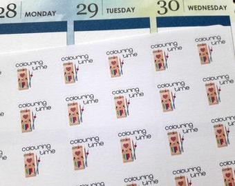 Coloring stickers, planner stickers, kawaii stickers, coloring time stickers, me time stickers for Erin Condren, Happy Planner, Filofax etc.
