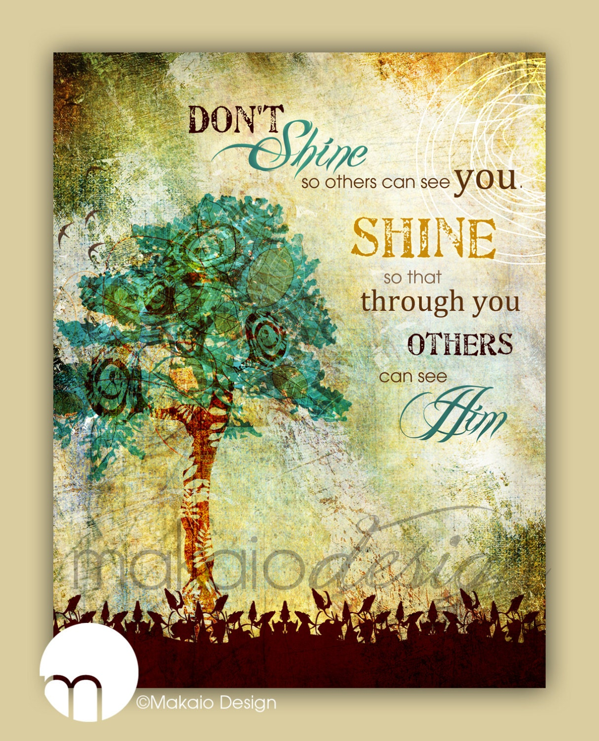 Christian Tree Art Inspirational Tree Art Whimsical Tree