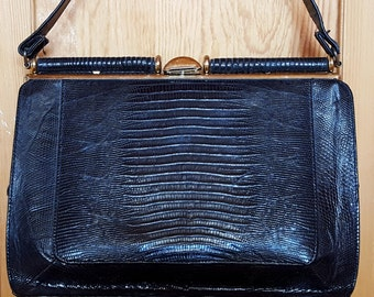 Vintage Black Skin Leather Handbag