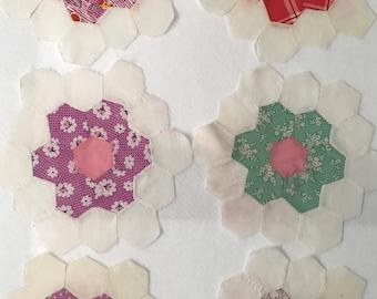 Vintage Hand Sewn Quilt Blocks - Multi Color Hexi Flowers w/ Pink Centers - 52 Piece Set