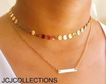 Disc & Bar Chocker Necklace