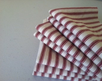 RED Ticking Cloth Cocktail Napkins, Wine, Cheese, Hors d' oeuvres, Appetizer, Set of 6, by CHOW with ME