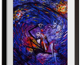 Vincent Van Gogh Starry Night Posters Jack Sally Jack and Sally Nightmare Before Christmas Canvas Wall Art Nursery Decor Wall Decor A015