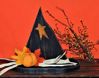 Primitive Wooden Witch's Hat Tabletop Decoration - Fall, Halloween, Country