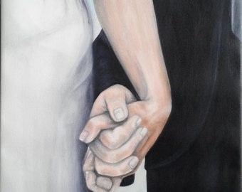 """REDUCED Oil Painting Wedding Couple Holding Hands, I Do 16""""x 20"""""""
