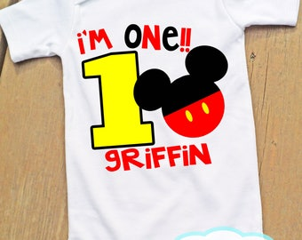 Mickey Mouse Birthday Bodysuit or Tshirt - Personalized - First Birthday Second Birthday Third - Disney