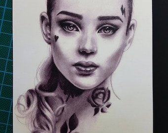 Print of a pencil face illustration